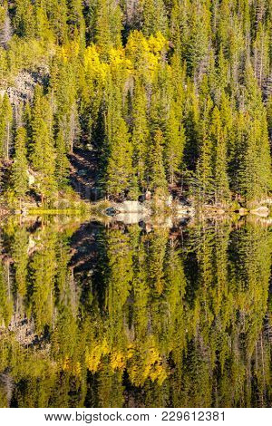 Bear Lake and reflection at autumn. Rocky Mountain National Park in Colorado, USA.