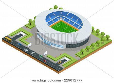 Isometric Sport Stadium. Football Soccer Stadium Building Vector Illustration. Game Soccer Building