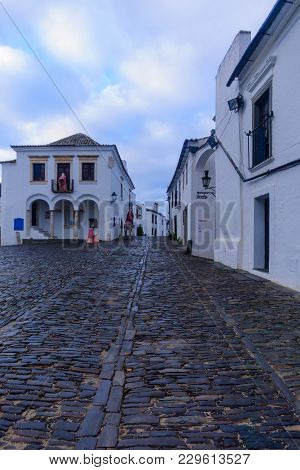 View Of Direita Street (the Main Street) In The Historic Village, In Monsaraz, Portugal
