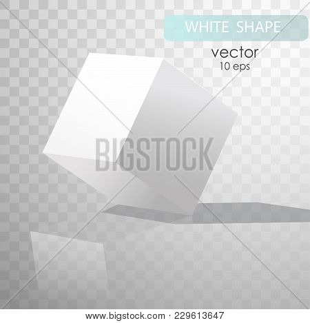 White Cube With Shadows, Isolated On Transparent Background. Cube Turned Onto Their Side. Gypsum Geo