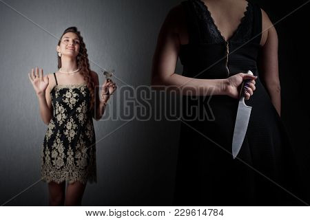 Insidious Woman With A Knife In Her Hand And Her Rival.