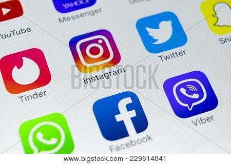 Sankt-petersburg, Russia, March 5, 2018: Apple Iphone X With Icons Of Social Media Facebook, Instagr