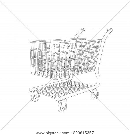Empty Shopping Cart. Isolated On White Background. Vector Outline Illustration.
