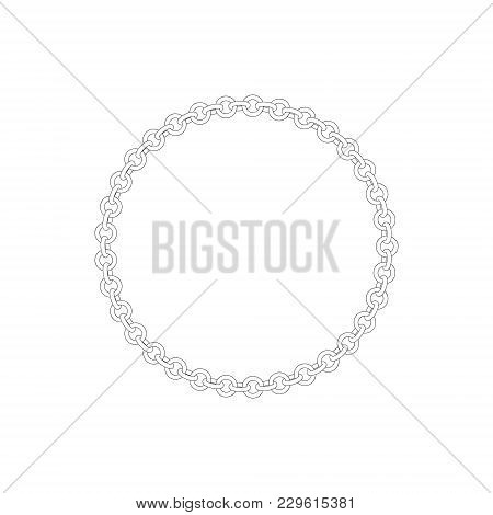 Chain Frame.circle. Isolated On White Background.vector Outline Illustration.