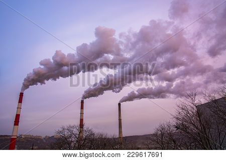 Many Large Pipes Of Which Goes Dirty Smoke, Exhaust Fumes And Shepherds, Above The City, The Polluti