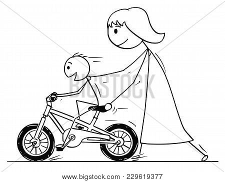 Cartoon Stick Man Drawing Conceptual Illustration Of Mother Teaching And Son Learning To Ride A Bicy