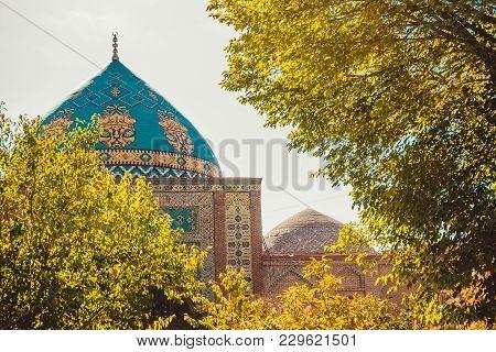 Blue Mosque. Elegant Islamic Building. Travel To Armenia, Caucasus. Touristic Architecture Landmark.
