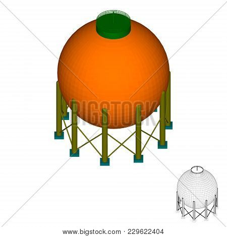 Gas Storage Tank. Isolated On White Background. 3d Isometric Style.3d Vector Colorful Illustration.