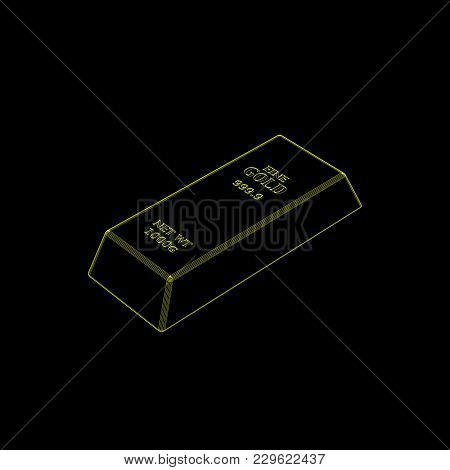 Gold Bar.isolated On Black Background.vector Outline Illustration.