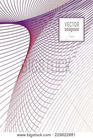 Cover Layout Of Line Art Design. Abstract Wavy Background Of Purple And Red Hues. Template A4 With T