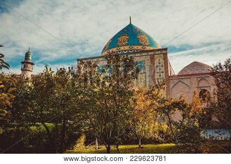 Blue Mosque Behind Park. Elegant Islamic Masjid Building. Travel To Armenia, Caucasus. Touristic Arc
