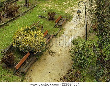 Park Beside The River In The Village Of Allariz In Galicia, Spain