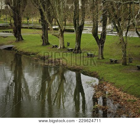 Reflections Of Trees On The Banks Of The Arnoia River In Allariz, Galicia. Spain