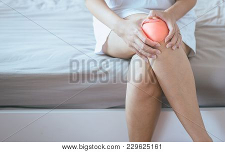 Woman Having A Knee Pain,female Feeling Exhausted And Painful