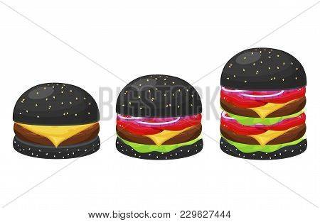 Black Hamburgers Set. Beefburger, Sandwich Consisting Of Meat, Buns Of The Hamburger Colored Black.