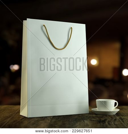 3d Rendered Mockup Illustration Empty Blank Template Of A White Paper Shopping Bag For Purchases On