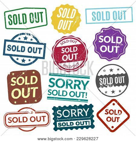 Sold Out Stamps. Stamping Patterns, Marks To Indicate Sell All Of A Product That Is In Not In Stock.