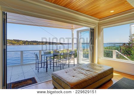 Lakefront Home Interior Shows The Covered Deck