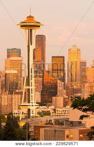 Seattle, Washington, United States - July 12, 2012: Space Needle And Skyline Of Downtown Buildings A