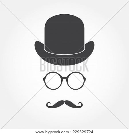 Glasses, Hat And Mustache. Old Fashioned Gentleman Accessories Icon Set. Vintage Or Hipster Style. V