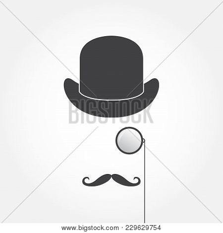 Monocle, Hat And Mustache. Old Fashioned Gentleman Accessories Icon Set. Vintage Or Hipster Style. V