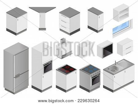 Isometric Boxes Of Furniture And Equipment For The Kitchen Project. Perspective View From The Top. B