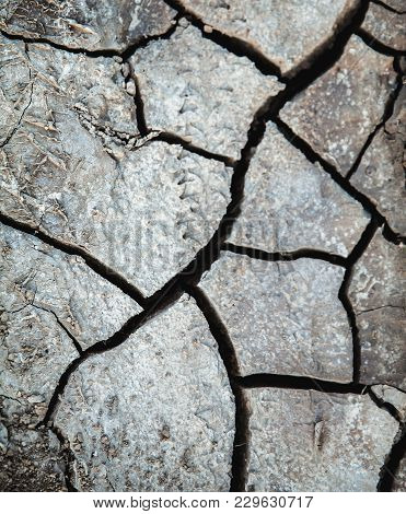Drought, Cracked Earth In Gray. Earth Without Rain. Background A