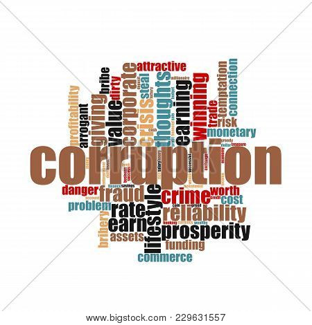 Corruption Crime Issues Concept On White Background, 3d Rendering.