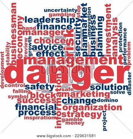 Danger Word Cloud Concept On White Background, 3d Rendering.