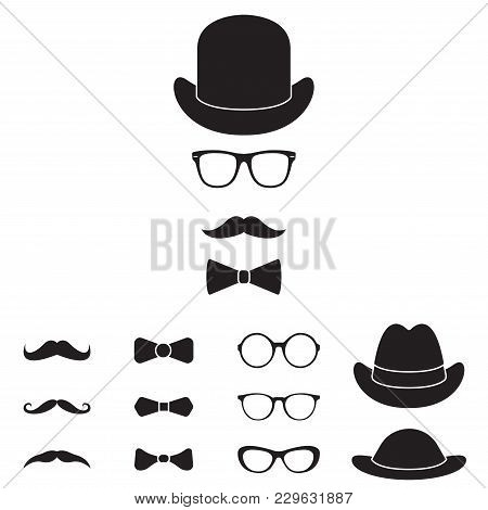 Old Fashioned Gentleman Accessories Icon Set. Glasses, Hat, Mustache And Bowtie. Vintage Or Hipster
