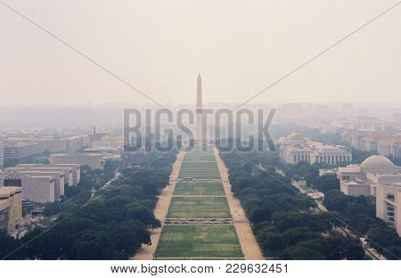 Washington Monument And The National Mall, As Seen From The Top Of The United States Capitol Buildin