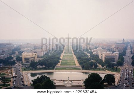 Washington Monument, The National Mall And The Smithsonian Museums As Seen From The Top Of The Unite
