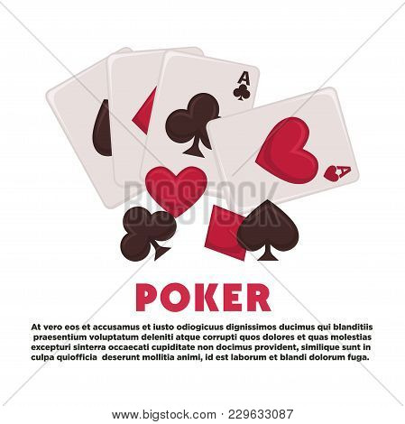 Poker Promotional Banner With Play Cards Of All Suits And Sample Text. Gambling And Money Stakes Com