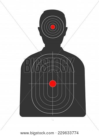 Target With Red Spots On Male Human Black Silhouette. Cardboard Aim With Man And Bright Points On He