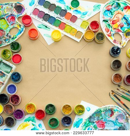 Decorative Composition Frame Materials For Creativity And Design. Bright Colors Saturated. Flat Lay