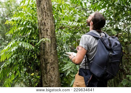 Biologist in a forest
