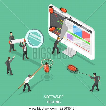 Software Testing Flat Isometric Vector Concept. People Are Taking Off The Web Page That Looks Like P