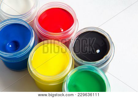 Jars Of Gouache In The Form Of A Semicircle Or Rainbow Of Gouache
