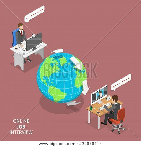 Online Job Interview Flat Isometric Vector Concept. Hr Manager, Located On The Other Part Of The Ear