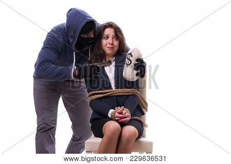 Gunman forcing a woman