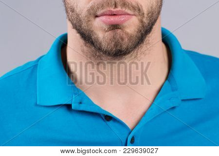 Beard, Mustache Design In Barber Salon. Bearded Chin, Mouth, And Blue Tshirt Collar. Barbershop, Bar