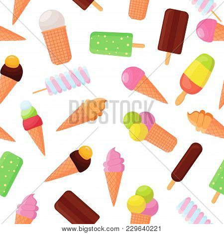 Colorful Ice Cream Seamless Pattern On White Background. Collection Ice-cream Cones And Popsicle. So