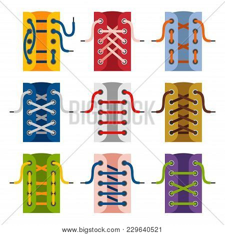Laces Shoes Icons Isolated On White Background. Schemes Of Tying Shoelaces. Lacing Vector Illustrati
