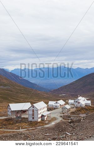 An Old Mining Town In The Alaskan Mountains Near Hatcher Pass. Located In Independence Mine State Pa