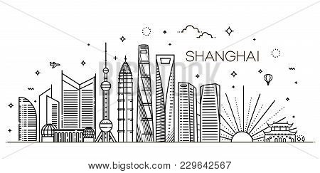 Outline Shanghai Skyline With Modern Buildings. Vector Illustration.