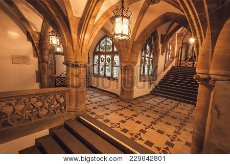 Munich, Germany - November 17, 2018: Bright Interior With Arches Of Gothic Style New Town Hall, Neue