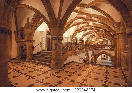 Munich, Germany - November 17, 2018: Empty Hall With Arches Of Gothic Style New Town Hall, Neues Rat