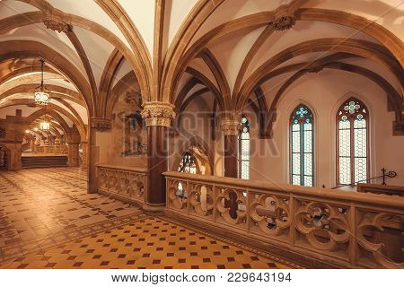 Munich, Germany - November 17, 2018: Ceiling And Arches Of Gothic Style New Town Hall, Neues Rathaus