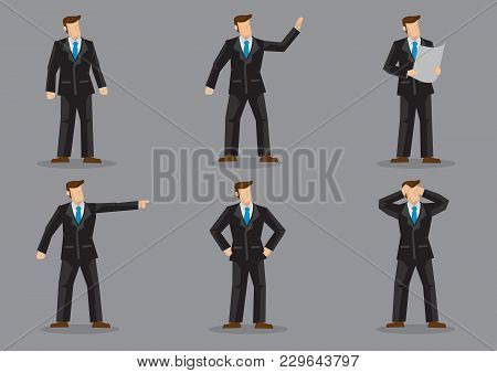 Set Of Six Vector Illustrations Of Faceless Businessperson In Black Full Suit And Blue Neck Tie In D