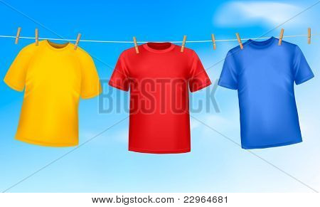 Set of colored t-shirts hanging on a clothesline on a sunny day. Vector illustration